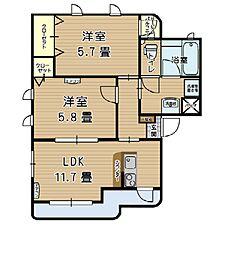 JR御殿場線 裾野駅 徒歩7分の賃貸アパート 2階2LDKの間取り