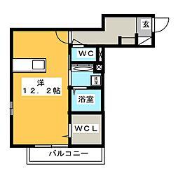 Victoire(ヴィクトワール) 1階ワンルームの間取り