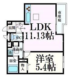 阪急神戸本線 六甲駅 徒歩5分の賃貸マンション 1階1LDKの間取り