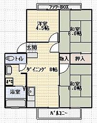 江北フラワーハイツA[101号室]の間取り