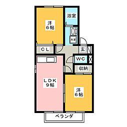 アヴェニール幸 B棟[1階]の間取り