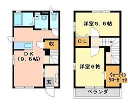 栃木県真岡市荒町2丁目の賃貸アパートの間取り