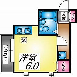 兵庫県神戸市灘区国玉通4丁目の賃貸アパートの間取り