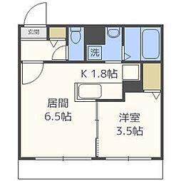 北海道札幌市北区北三十七条西8丁目の賃貸マンションの間取り