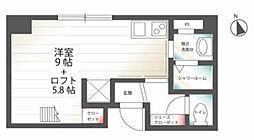 京急本線 日ノ出町駅 徒歩5分の賃貸マンション 4階ワンルームの間取り