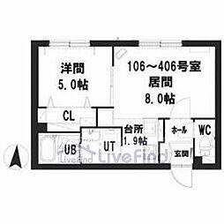 札幌市営東豊線 豊平公園駅 徒歩7分の賃貸マンション 3階1LDKの間取り