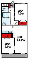 福岡県遠賀郡遠賀町大字島津の賃貸アパートの間取り