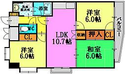 広島電鉄9系統 白島駅 徒歩14分の賃貸マンション 7階3LDKの間取り