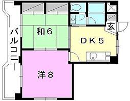 愛媛県松山市小栗2丁目の賃貸マンションの間取り