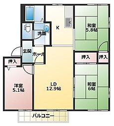 サニーパークA[2階]の間取り
