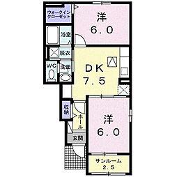 宮崎県宮崎市大字田吉の賃貸アパートの間取り