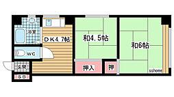 兵庫県神戸市灘区国玉通4丁目の賃貸マンションの間取り