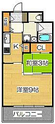 エンクレストベイ天神東[8階]の間取り