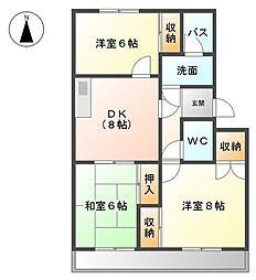 愛知県名古屋市中川区西伏屋3丁目の賃貸マンションの間取り