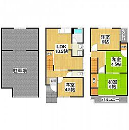 南海高野線 北野田駅 徒歩4分の賃貸一戸建て 1階4LDKの間取り
