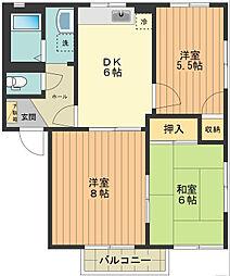 東京都八王子市戸吹町の賃貸アパートの間取り