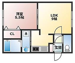 アンシャンテ麻生 1階1LDKの間取り