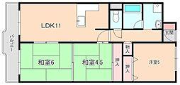 サンフラッツ南桜塚[102号室]の間取り