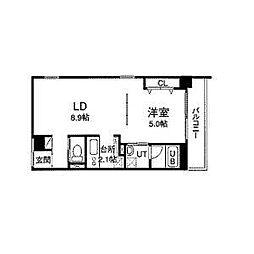 札幌市営東豊線 栄町駅 徒歩5分の賃貸マンション 4階1LDKの間取り