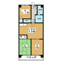 愛知県名古屋市北区上飯田西町2丁目の賃貸マンションの間取り