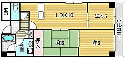 大阪府摂津市新在家1丁目の賃貸マンションの間取り