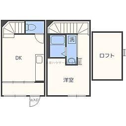 Wood MaisonN18 1階1DKの間取り
