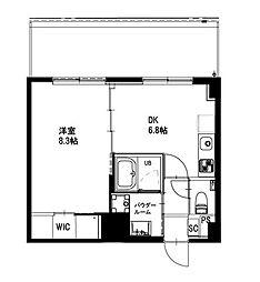 都営新宿線 曙橋駅 徒歩4分の賃貸マンション 6階1DKの間取り