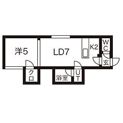 シャネル栄町弐番館 3階1LDKの間取り
