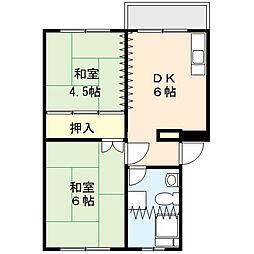 吉野原丸徳マンション 3階2DKの間取り