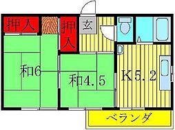 花形コーポ[3階]の間取り