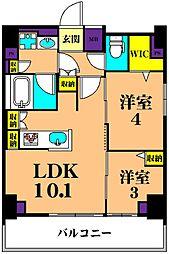 JR京浜東北・根岸線 大井町駅 徒歩10分の賃貸マンション 9階2LDKの間取り