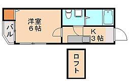 福岡県福岡市城南区茶山1丁目の賃貸アパートの間取り