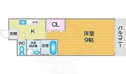 Osaka Metro堺筋線 天下茶屋駅 徒歩12分の賃貸マンション 5階1Kの間取り