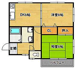 兵庫県神戸市長田区片山町4丁目の賃貸アパートの間取り