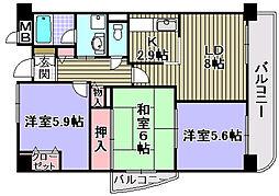 大阪府和泉市府中町2丁目の賃貸マンションの間取り