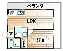 ロイヤルコーポ内納[5階]の間取り