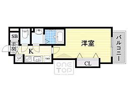 Luxe都島3 2階1Kの間取り