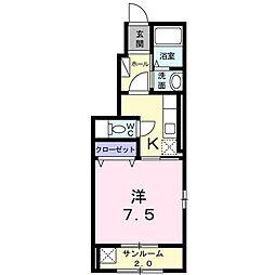 JR奥羽本線 北山形駅 徒歩23分の賃貸アパート 1階1Kの間取り