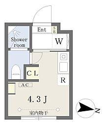 西武新宿線 下落合駅 徒歩2分の賃貸マンション 地下1階ワンルームの間取り