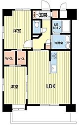 熊本電気鉄道 北熊本駅 徒歩5分の賃貸マンション 8階2LDKの間取り