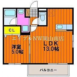 JR宇野線 大元駅 徒歩7分の賃貸マンション 1階1LDKの間取り