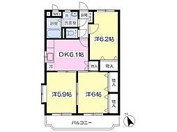 ドリームハイツ 3階3DKの間取り