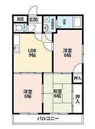 福岡県北九州市八幡西区陣原4丁目の賃貸アパートの間取り