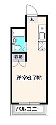 東京都立川市富士見町1丁目の賃貸マンションの間取り