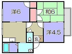 滋賀県東近江市八日市清水2丁目の賃貸アパートの間取り