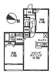 オーチャード・アパートメント D[102号室号室]の間取り