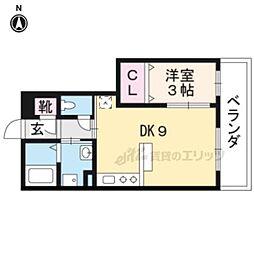 京阪本線 龍谷大前深草駅 徒歩8分の賃貸アパート 2階1DKの間取り