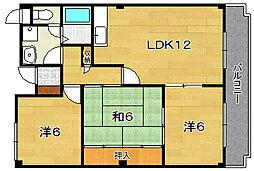 大阪府茨木市東太田2丁目の賃貸マンションの間取り