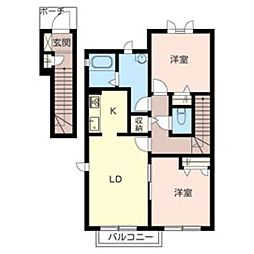 シャーメゾン三木C 202[2階]の間取り