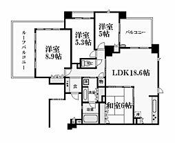 兵庫県西宮市大谷町の賃貸マンションの間取り